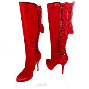 Joan & David Dahanover Lace Up Knee High Boots